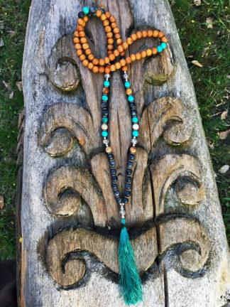 Mala mit Picasso Marmor und Holzperlen im Ganesha Shop