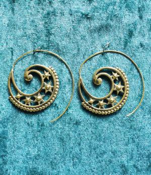 Messing Spiralen Ohrringe aus Indien im Ganesha Shop