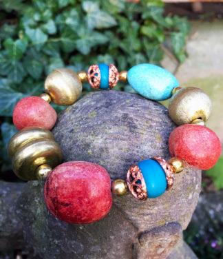 Armband mit Messing Perlen und diversen bunten Perlen