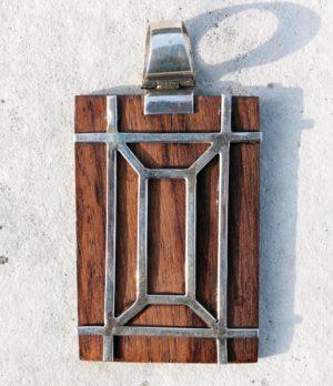 Holz Anhänger mit Silber