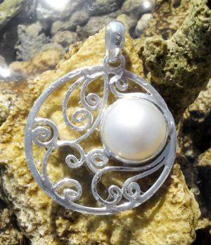 Silber Anhänger mit Perle