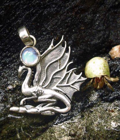 Drachen Silber Anhänger mit Mondstein