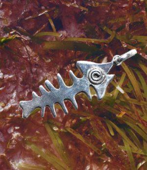 Fischskelett Silber Anhänger