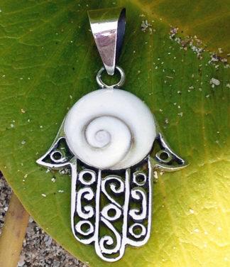 """Silber Anhänger """"Die Hand Fatimas"""" mit Shiva Eye"""