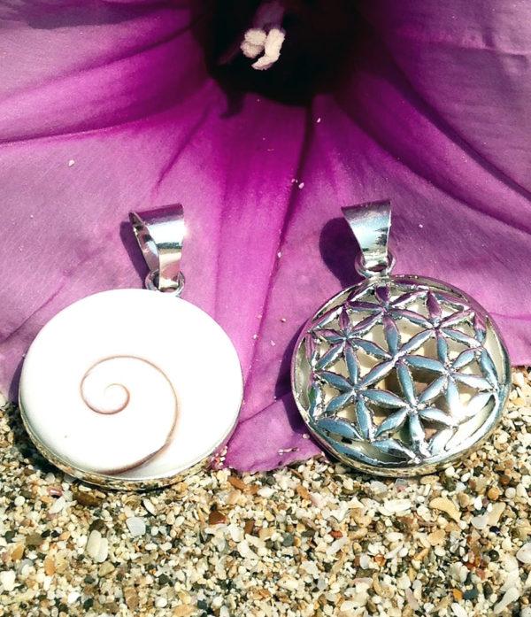 Shiva Eye Anhänger mit Blume des Lebens