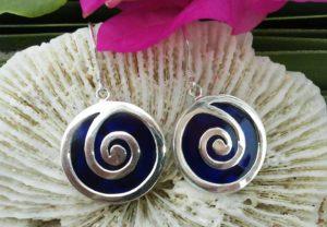 Silber Ohrringe mit Perlmutt und Plexiglas
