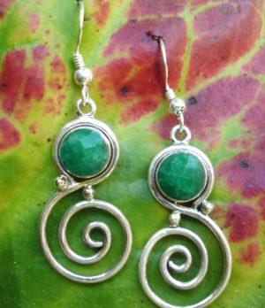Silber Ohrringe mit Smaragd