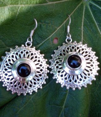 Silber Ohrringe mit Onyx