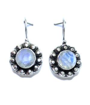 Silber Ohrringe mit Mondstein