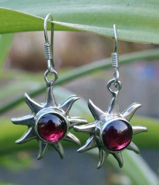 Silber Ohrringe mit Granat