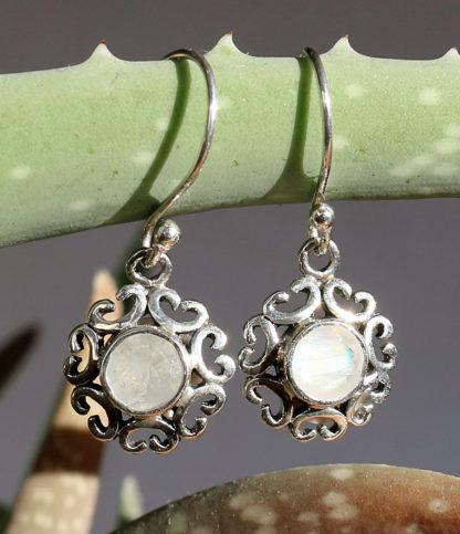 Silber Ohringe mit Mondstein im Ganesha Shop Fürth