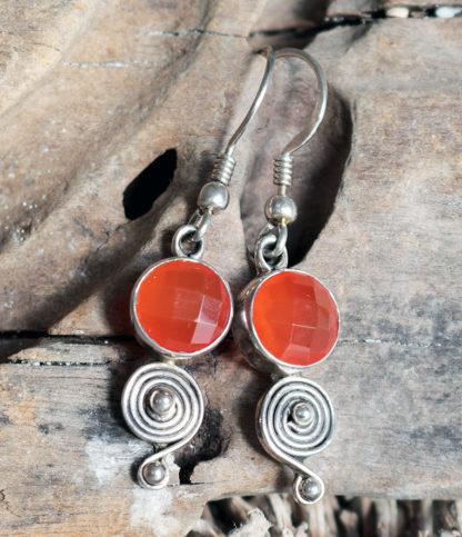 Silber Ohrringe mit Karneol preiswert im Ganesha Shop