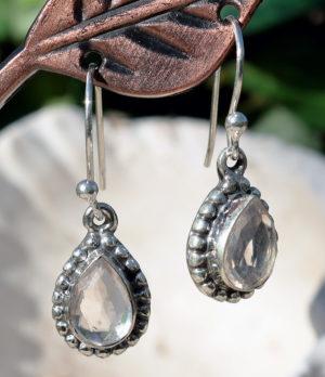 Silberohrringe mit Rosenquarz im Ganesha Online Shop kaufen