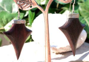 Holzohrringe mit Silberfassung im Ganesha Online Shop kaufen