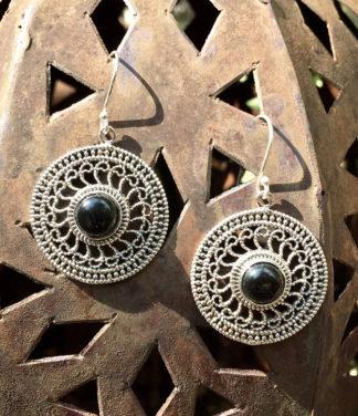 Silberohrringe mit Onyx im Ganesha Online Shop kaufen