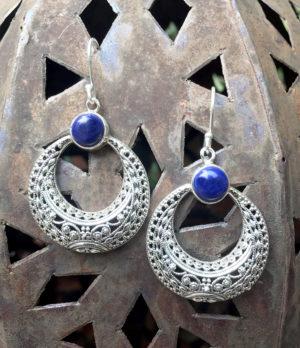 Silber Ohrringe mit Lapislazuli im Ganesha Online Shop