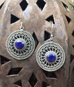 Silber Ohrringe mit Saphir aus Indien im Ganesha Online Shop