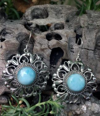 Ohrringe mit Larimar 925 Sterling Silber eingearbeitet