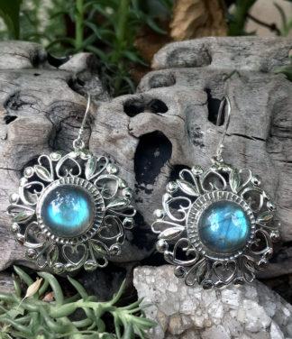 Silber Ohrringe mit Labradorit im Ganesha Shop kaufen