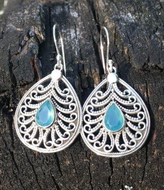 Ohrringe mit Chalcedon in Silberarbeit im Ganesha Shop kaufen