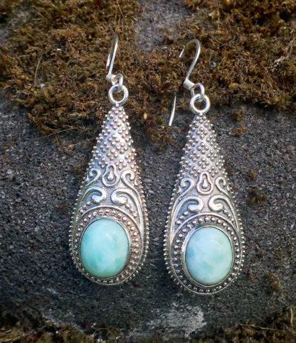Silber Ohrringe mit Larimar im Ganesha Online Shop