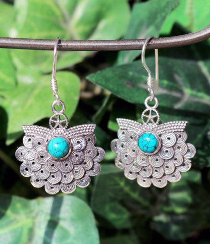 Silber Ohrringe mit Türkis Stein im Ganesha Shop