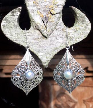 Silber Ohrringe mit Perlen aus Indien im Ganesha Shop