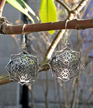 Silberohrringe Blume des Lebens im Ganesha Shop