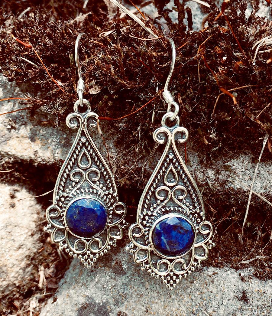 Ohrstecker Lotusblüte Ohrringe Lapis Lazuli Lotus 925 Sterling Silber in Blau