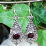 Silber Ohrringe mit geschliffenen Granat im Online Shop günstig kaufen