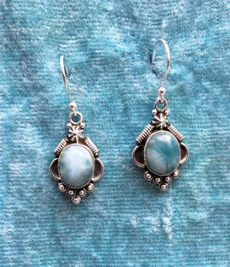 Silber Ohrringe mit Larimar im Ganesha Shop kaufen