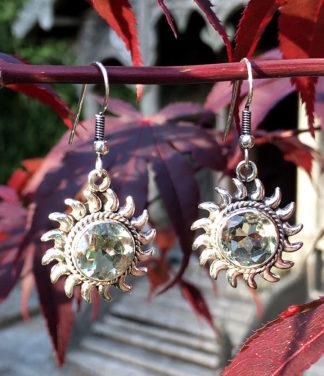 Silberohrringe mit grünen Amethyst - Prasiolith im Ganesha Online Shop