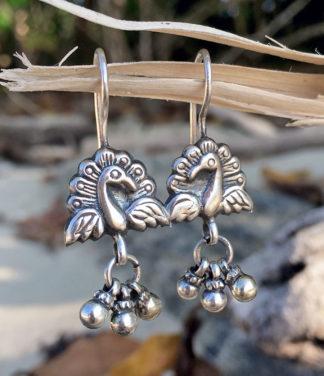 Pfau Silber Ohrringe im Ganesha Online Shop