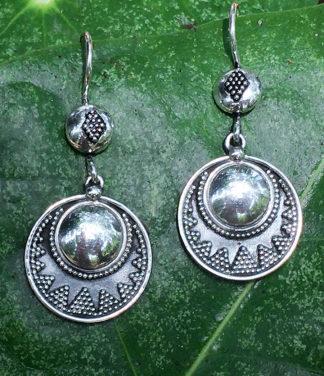 Runde Silberohrringe feine indische Silberarbeit im Ganesha Shop