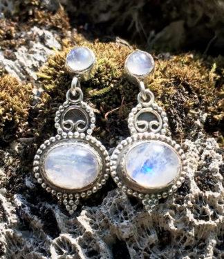 Silber Ohrringe Ohrstecker mit Mondstein online kaufen
