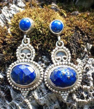 Silberohrringe mit Lapislazuli und Pyrit im Ganesha Online Shop