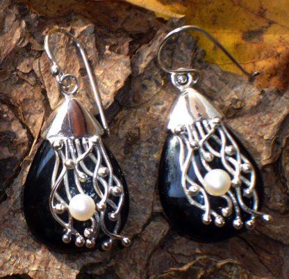 Silber Ohrringe mit Onyx und Perle