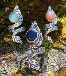offene verstellbare Silberringe mit Halbedelsteinen