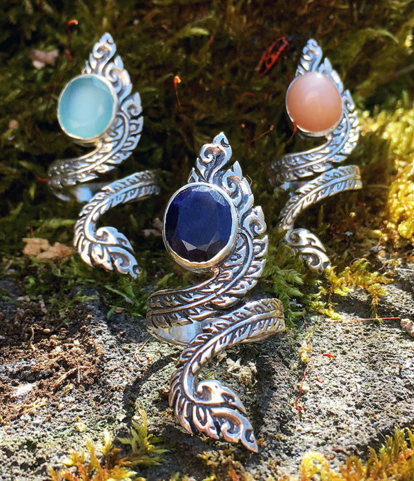 offene Silberringe mit Saphir, Chalcedon, Pink Moonstone