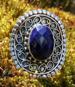 Silberring mit Saphir - Ganesha Shop Fürth