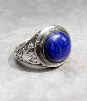 Herrenring aus Silber mit Lapislazuli - Ganesha Online Shio
