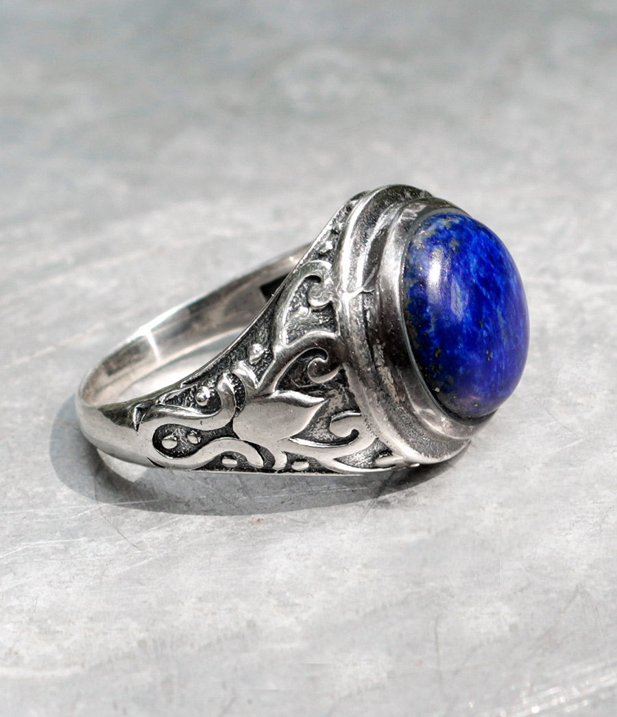 Herren Silberring mit Lapislazuli - Ganesha Online Shop Fürth