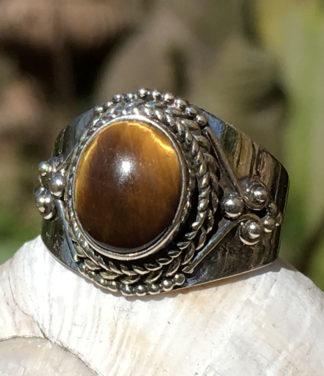 Silberring mit Tigerauge - Ganesha Online Shop