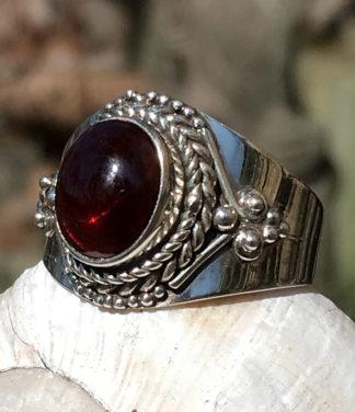 Silberring mit Granat Stein-Online Shop