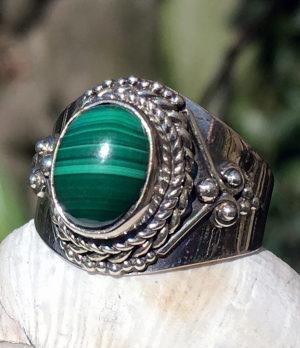 Silberring mit Malachit Stein im Ganesha Shop