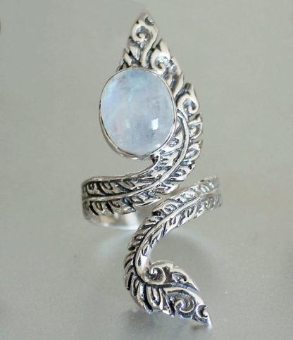 Verstellbarer Silberring mit Mondstein - Ganesha Online Shop