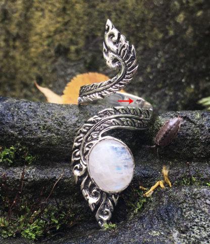 Offener verstellbarer Silberring mit Mondstein