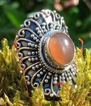 Silberring mit Pink Moonstone - Ganesha Online Shop