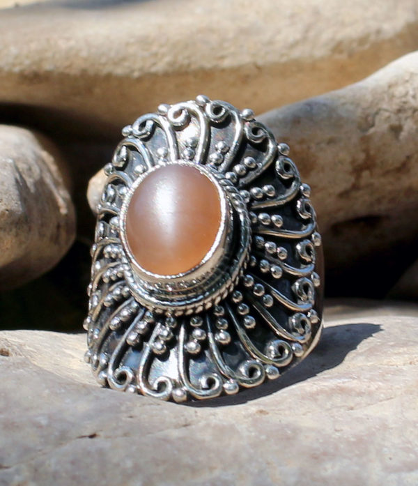 Silberring mit Pink Moonstone - Online Shop