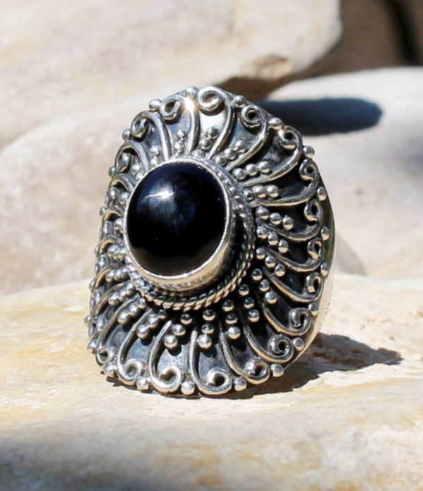 Silberring mit Onyx - Ganesha Online Shoo